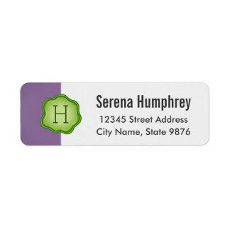 Elegant Green Stamp Monogram on Purple Return Address Label