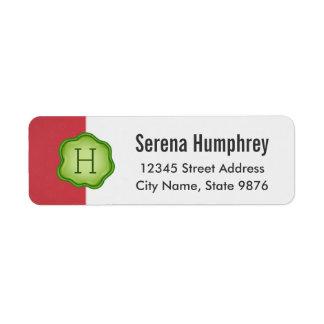 Elegant Green Stamp Monogram on Ruby Red Return Address Label