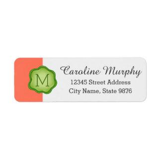 Elegant Green Stamp Monogram on Salmon Return Address Label