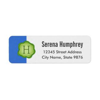 Elegant Green Stamp Monogram on Sapphire Blue Return Address Label