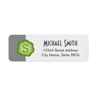 Elegant Green Stamp Monogram on Silver Return Address Label