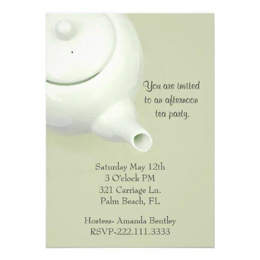 Elegant Green Tea Party Invitation
