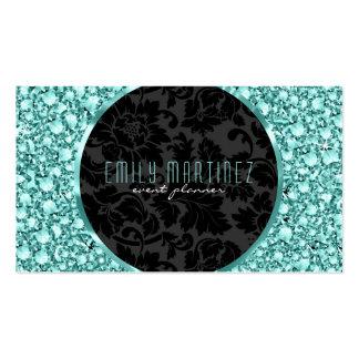 Elegant Green Tint Diamonds Pattern Glitter Pack Of Standard Business Cards