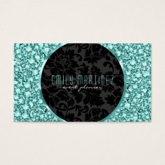 Elegant Green Tint Diamonds Pattern Glitter Business Card
