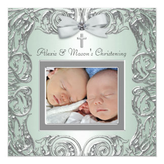 Elegant Green Twins Photo Christening Invitations
