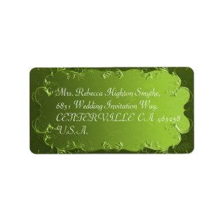 Elegant Green Vintage Wedding Address Labels
