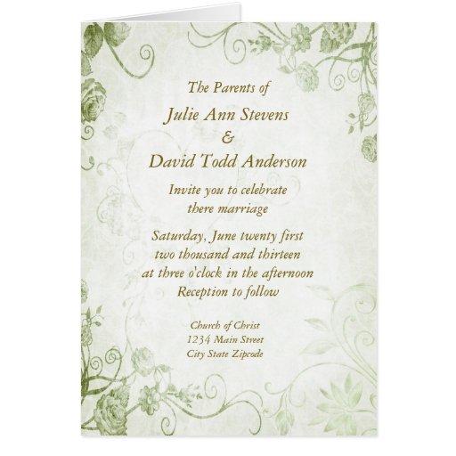 Elegant Green Vintage Wedding Invitation