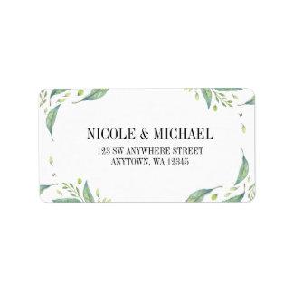 Elegant Green Watercolor Foliage Leaf Wreath Label