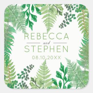 Elegant Greenery | Wild Ferns Wedding Square Sticker