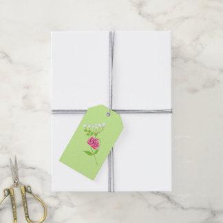 Elegant Greenery Wild Flowers Pink Green Gift Tags
