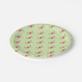 Elegant Greenery Wild Flowers Pink Green Paper Plate
