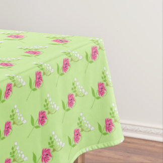 Elegant Greenery Wild Flowers Pink Green Tablecloth