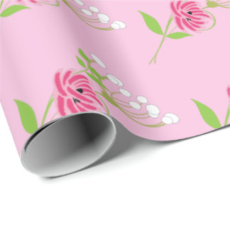 Elegant Greenery Wild Flowers Pink Green Wrapping Paper