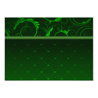 Elegant greenish damask 13 cm x 18 cm invitation card