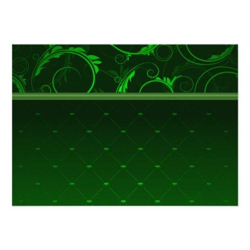 Elegant greenish damask custom invites