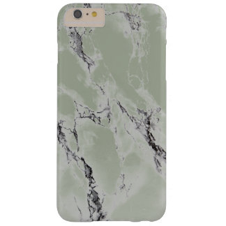 Elegant Greenish Gray And Black Marble Stone Barely There iPhone 6 Plus Case
