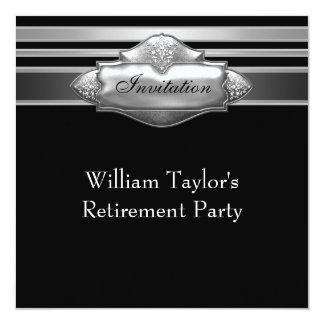 Elegant Grey and Black Mans Retirement Party Card