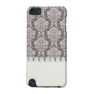 elegant grey and ecru ivory ornate damask pattern iPod touch (5th generation) covers