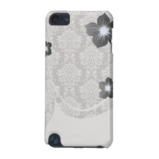 elegant grey and ecru ivory ornate damask pattern iPod touch 5G cases