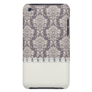 elegant grey and ecru ivory ornate damask pern iPod touch cover