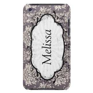 elegant grey and ecru ivory ornate damask pern iPod touch cover