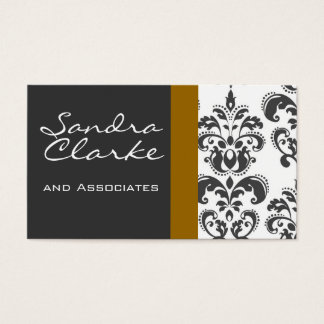 Elegant Grey and Gold Damask Pattern Business Card