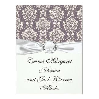 elegant grey and ivory ornate damask pattern 17 cm x 22 cm invitation card
