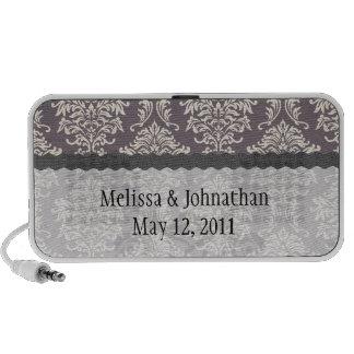 elegant grey and ivory ornate wedding keepsake iPhone speakers