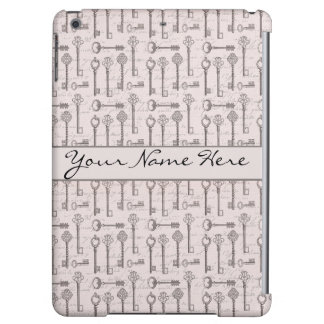 Elegant Grey and Pink Vintage Keys iPad Air Cover