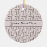 Elegant Grey and Pink Vintage Keys Round Ceramic Decoration