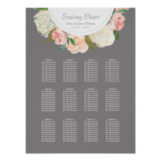 Elegant grey and roses weddin dinner seating chart