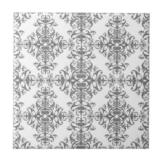 Elegant Grey and White Floral Damask Victorian Art Small Square Tile