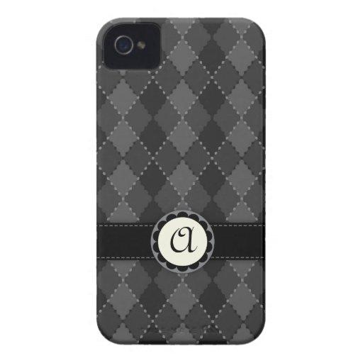 Elegant grey argyles monogram BlackBerry Bold case