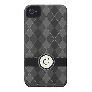 Elegant grey argyles monogram iPhone 4 case