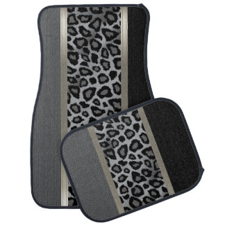 Elegant Grey, Black and Leopard Animal Design Car Mat