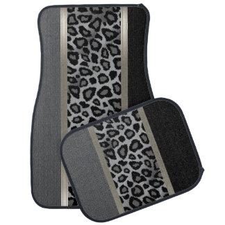 Elegant Grey, Black and Leopard Animal Design Floor Mat