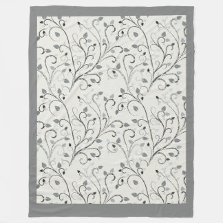 Elegant grey contrast leaf pattern fleece blanket