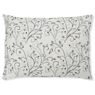Elegant grey contrast leaf pattern pet bed