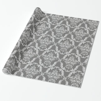 Elegant Grey Damask Pattern Wrapping Paper