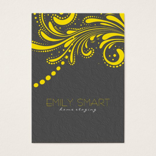Elegant Grey Damasks And Yellow Vintage Lace Business Card