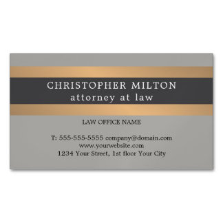 Elegant Grey Faux Copper Stripe Attorney at law Magnetic Business Cards