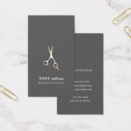 Elegant Grey Faux Metal Scissors Hairstylist Business Card
