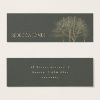 ELEGANT GREY GOLD FALL AUTUMN TREES ADDRESS MINI BUSINESS CARD