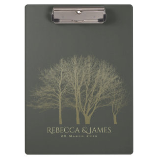 ELEGANT GREY GOLD FALL AUTUMN TREES MONOGRAM CLIPBOARD