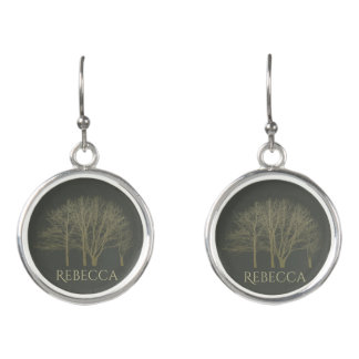ELEGANT GREY GOLD FALL AUTUMN TREES MONOGRAM EARRINGS