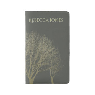 ELEGANT GREY GOLD FALL AUTUMN TREES MONOGRAM LARGE MOLESKINE NOTEBOOK