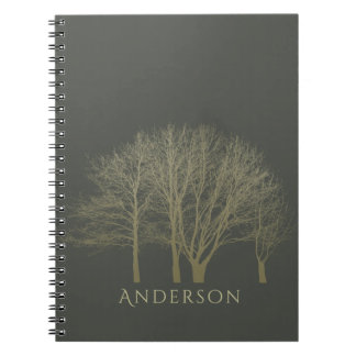 ELEGANT GREY GOLD FALL AUTUMN TREES MONOGRAM NOTEBOOK