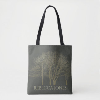 ELEGANT GREY GOLD FALL AUTUMN TREES MONOGRAM TOTE BAG