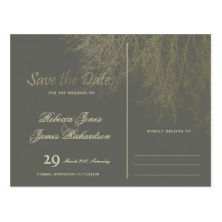 ELEGANT GREY GOLD FALL AUTUMN TREES SAVE THE DATE POSTCARD