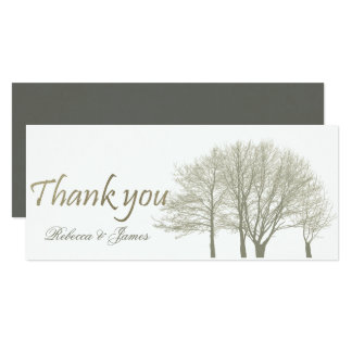 ELEGANT GREY GOLD FALL AUTUMN TREES THANK YOU CARD